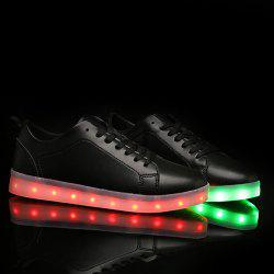 Led Luminous Faux Leather Casual Shoes - BLACK