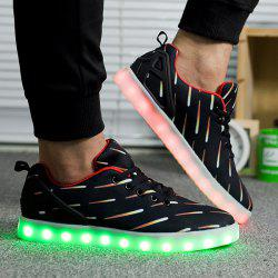 Led Luminous Meteor Pattern Lights Up Casual Shoes - BLACK