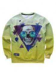 Funny Crew Neck Triangle Skull Printed Sweatshirt