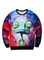 3D Cartoon Galaxy Print Crew Neck Sweatshirt -