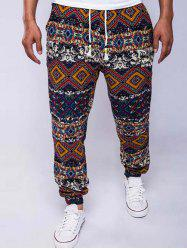 Ethnic Style Geometric Print Linen Drawstring Jogger Pants - RED