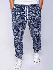 Cotton+Linen Geometric Print Drawstring Beam Feet Jogger Pants - BLUE