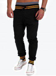 Contrast Stripe Drawstring Jogger Pants - BLACK