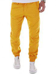 Low-Slung Crotch Design Zipper Fly Beam Feet Jogger Pants - YELLOW