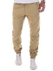 Low-Slung Crotch Design Zipper Fly Beam Feet Jogger Pants - KHAKI