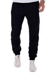 Low-Slung Crotch Design Zipper Fly Beam Feet Jogger Pants - BLACK