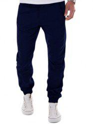 Low-Slung Crotch Design Zipper Fly Beam Feet Jogger Pants