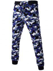 Camoflage Pattern Drawstring Beam Feet Jogger Pants - NAVY BLUE