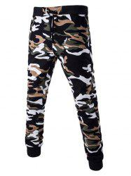 Camoflage Pattern Drawstring Beam Feet Jogger Pants - EARTHY