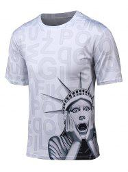3D Statue of Liberty and Letter Print Short Sleeve T-Shirt -