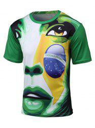 3D Brazil Figure and Football Print Short Sleeve T-Shirt