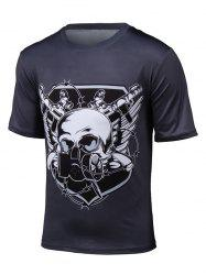 3D Gas Mask Skull Print Short Sleeve T-Shirt