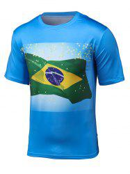 3D Brazil Flag Print Short Sleeve T-Shirt