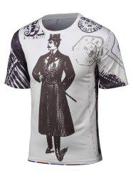 Round Neck 3D Cartoon Chaplin and Union Jack Print Short Sleeve T-Shirt
