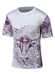 Round Neck 3D Leopard and Floral Print Short Sleeve T-Shirt - WHITE 4XL