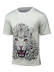 Round Neck 3D Leopard Print Short Sleeve T-Shirt