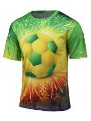 Round Neck 3D Football and Firework Print Short Sleeve T-Shirt