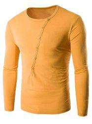 Buttons Embellished Round Neck Long Sleeve T-Shirt -