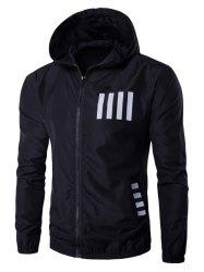 Hooded Number and Stripe Print Zip-Up Polyester Jacket - BLACK