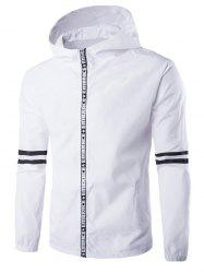 Hooded письмо Окантовка Zip-Up Varsity Jacket Stripe -