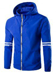 Hooded Letter Edging Zip-Up Varsity Stripe Jacket - SAPPHIRE BLUE M