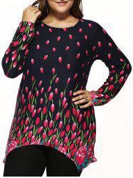 Plus Size Knitted Asymmetrical Pullover - BLACK ONE SIZE