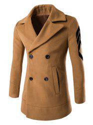 Turn-Down Collar Embroidery Double-Breasted Woolen Coat -