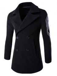 Turn-Down Collar Embroidery Double-Breasted Woolen Coat