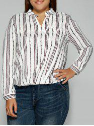 Loose Striped Printed Blouse -