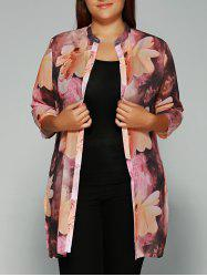 Floral Print Tie-Dyed Chiffon Blouse
