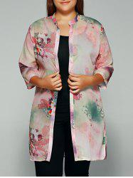 Flower Print Side Slit Chiffon Blouse - PINK