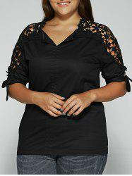 Floral Crochet Lace Spliced Blouse - BLACK