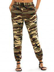 Fashionable Lace-Up Narrow Feet Camo Print Women's Pants -