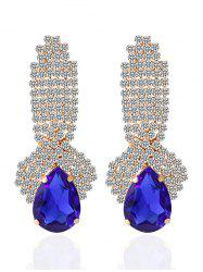 Faux Crystal Rhinestoned Drop Earrings - BLUE