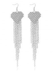 Rhinestone Tassel Chains Heart Earrings