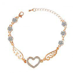 Rhinestone Heart Angel Wings Bracelet -