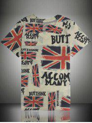 Letter Print Distressed England Flag T-Shirt