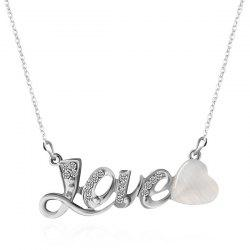 Faux Opal Rhinestone Love Heart Necklace - SILVER