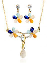Faux Opal Rhinestone Floral Jewelry Set - GOLDEN