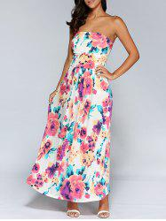Pocket Design Floral Print Ruched Dress -