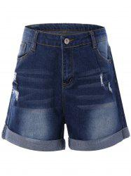 Rolled Cuff Broken Hole Shorts -