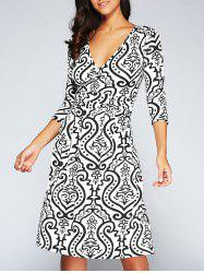 V-Neck 3/4 Sleeve Ornate Print Dress - WHITE XL