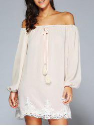 Off The Shoulder Patched Long Sleeve Cream Casual Dress - APRICOT
