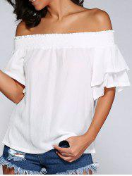 Off The Shoulder Cut Out Shirred Blouse -