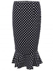 High Waisted Polka Dot Mermaid Skirt