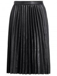 Pleated PU Leather High Waist Skirt -