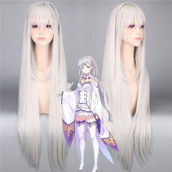 ReZero Emilia Extra Long Silky Straight With Braided Synthetic Cosplay Wig