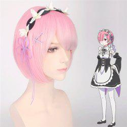 ReZero Ram Short Bob Style Synthetic Straight Ombre Color Cosplay Wig