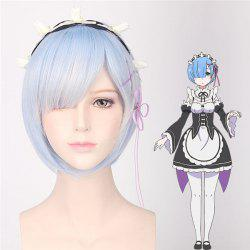 ReZero Rem Bob Hairstyle Short Synthetic Ombre Color Cosplay Wig