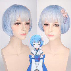 ReZero Rem Young Style Short Ombre Color Synthetic Bob Hairstyle Cosplay Wig - LIGHT BLUE